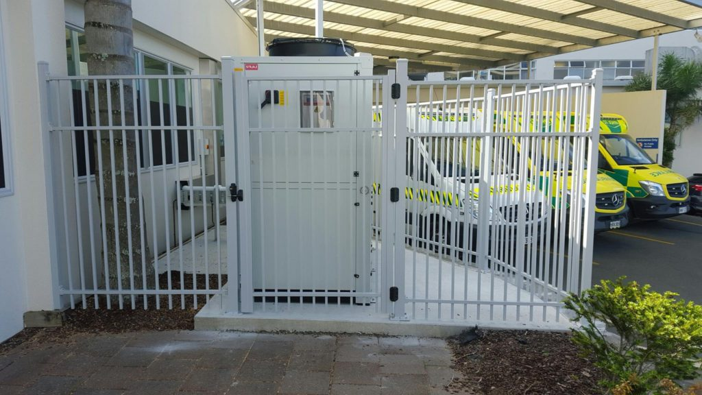 Security fencing and gate at Whangarei Hospital